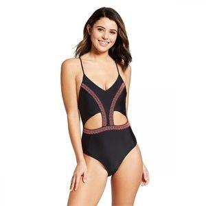 NWT Xhilaration One Piece Swimsuit Medium Black